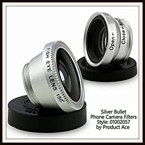 Product Ace Universal 3-in-1 Macro, FishEye, & Wide Angle Amazing Travel Lens Kit For Your Mobile Phone Comes With Travel Pouch & Lens Covers Too! Works With iPhone 6/6+/5S/5C/5/4S/4 Galaxy S5/9500/9300 Nokia HTS & More! A Must For The Phone Camera Buff & Choice of Colors! Now Includes a Bonus Silky Soft PA Microfiber Clean Cloth! (Silver Bullet)