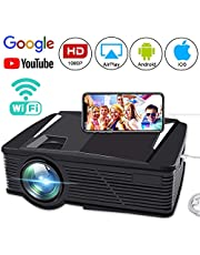 Wireless Video Projector, FAERSI 2800 Lumens Wifi Mini LED Home Cinema Projector 50,000 Hours Life, Full HD 1080P, WIFI Directly Connect with Android IOS Device, Compatible with HDMI/VGA/AV/USB