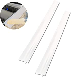 2 Pack Silicone Stove Counter Gap Cover, 25 inch Long Kitchen Counter Gap Filler, Long Gap Filler Seals Spills Between Counter, Stovetop, Oven, Washing Machine and Kitchen Appliances (Clear)