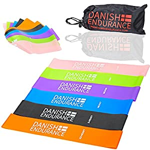 6 or 3 Pack, Resistance Loop Exercise Bands by DANISH ENDURANCE, Ideal for Exercise, Workout, Fitness, Physical Therapy, Yoga, Pilates and Stretching at Home, at Work or when Travelling