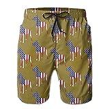 Great Dane USA Flag Love Men's Quick Dry Summer Watersports Swim Shorts L