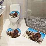 jwchijimwyc Vintage Printed Rusty Old Abandoned Steam Train Locomotive Cemetery Metal Railroad Wreck Picture 3 Piece Toilet Cover set Blue Brown