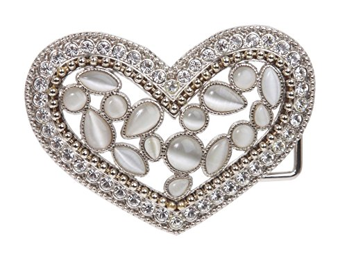 Rhinestone & Cat-eye Stone Heart Belt Buckle Color: White (Rhinestone Buckle White)