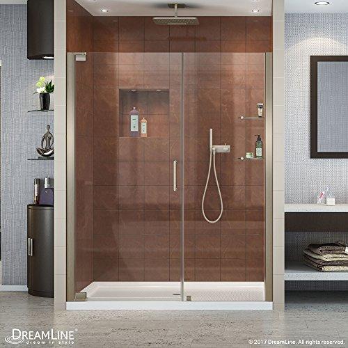DreamLine Elegance 58-60 in. W x 72 in. H Frameless Pivot Shower Door in Brushed Nickel, SHDR-4158720-04 from DreamLine