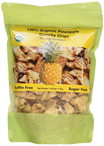 Indus Organics Pineapple Dried Crunchy Chips, 5 Oz Bag, Sulfite Free, No Added Sugar, Freshly Packed ()