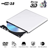 Blu Ray Externe CD DVD Laufwerk 3D Brenner,USB 3.0 Blueray CD Rom Player Tragbar für PC MacBook iMac os Windows 7/8/10/Vista/XP