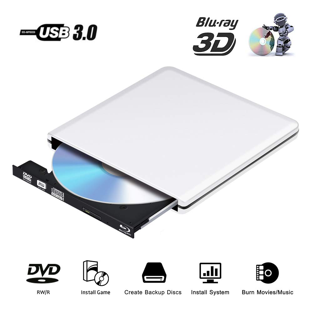 External Blu Ray CD DVD Drive 3D 4K, USB 3.0 Optical Bluray DVD CD RW Row Burner Player Rewriter Portable Compatible for MacBook OS Windows 7 8 10 PC iMac (Silver) by PiAEK