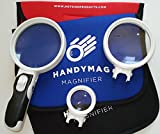 Best handheld magnifying glass set with light - under $15 - hand held magnifier with 3 LEDs | High Magnification Power | jewelry loupe | padded carrying case included