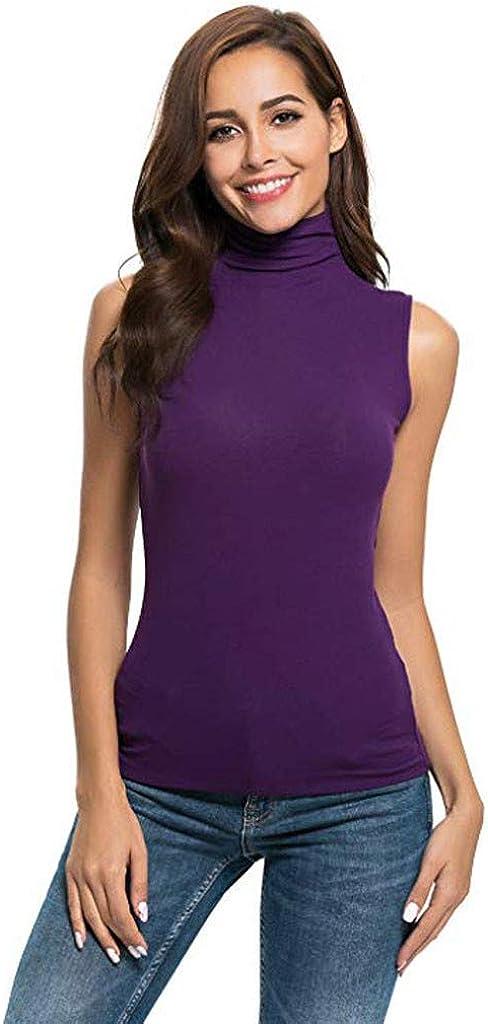 Cocila Womens Fashion Vest Sleeveless Solid Slim Fit Turtleneck Tee Shirt Tank Top Blouse