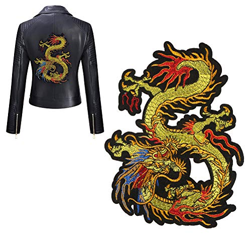 Kissbuty Gold Dragon Patch Embroidered Applique Patch Chinese Dragon Sew on or Ironon Patches for DIY Chinese Dragon Costume, Jeans, Jackets, Clothing, Bags (Embroidered Dragon Patches)