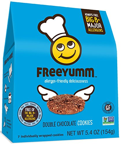 FreeYumm Allergen Free Cookies, Gluten Free, Vegan, Dairy Free, Nut Free Snacks for Kids, Total of 21 Cookies (Double Chocolate - Bar Snack Free