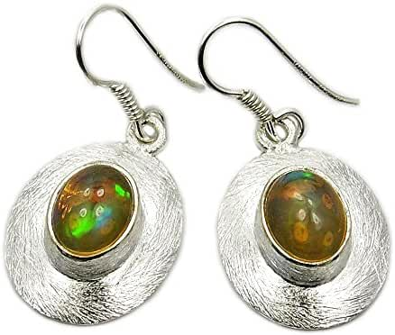 Unique Sterling Silver Ethiopian Opal Dangle Earrings