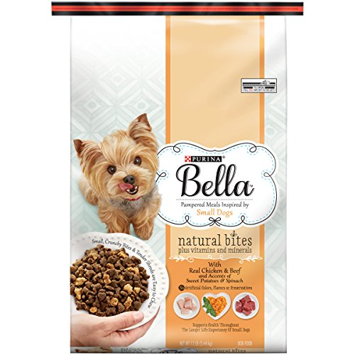 Purina Bella Natural Bites Plus Vitamins and Minerals With Real Chicken & Beef and Accents of Sweet Potatoes & Spinach Adult Dry Dog Food 12 lb Bag, Pack of (Bella Dog)
