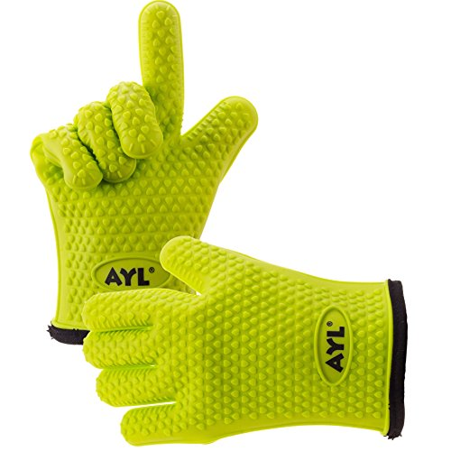 AYL Silicone Cooking Gloves - Heat Resistant Oven Mitt for Grilling, BBQ, Kitchen - Safe Handling of Pots and Pans - Cooking & Baking Non-Slip Potholders - Internal Protective Cotton ()