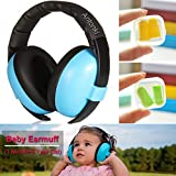 Kid Earmuff, Baby Ear Protection Earmuffs Safety Noise Cancelling Earmuff with 2 Pairs Earplugs for Kids (1 Month ~ 5 Years old) on Loud Wedding, Sporting Event, Movie, Shooting, Airplane Trips - Blue