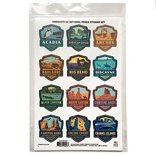 Anderson Design Group 60 National Parks Mini Emblem Sticker Set