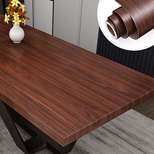 """Yenhome 24"""" x 118"""" Black Walnut Wood Grain Decorative Stick on Wallpaper Self Adhesive Wallpaper Stick and Peel Vinyl Drawer and Shelf Liner for Kitchen Cabinets Bedroom Living Room Wall Decor"""