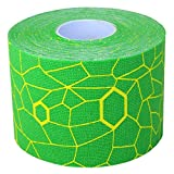 TheraBand Kinesiology Tape, Waterproof Physio Tape for Pain Relief, Muscle & Joint Support, Standard Roll with XactStretch Application Indicators, 2 Inch x 16.4 Foot Roll, Electric Green/Yellow