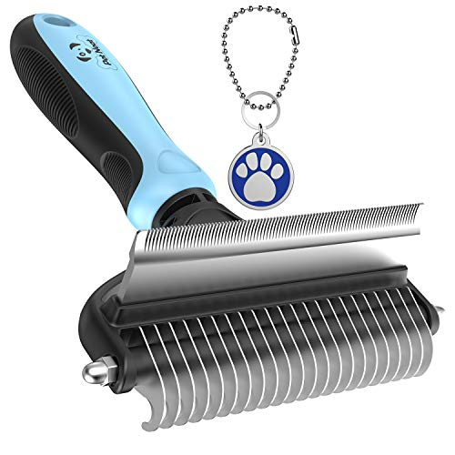 Dog Brush and Cat Brush - 2 Sided Pet Grooming Tool - Easy Mats & Tangles Removing - No More Nasty Shedding and Flying Hair