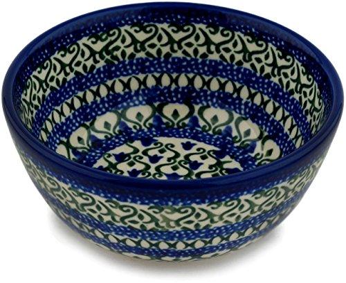 Polish Pottery 4¾-inch Bowl made by Ceramika Artystyczna (Tulip Trellis Theme) + Certificate of Authenticity