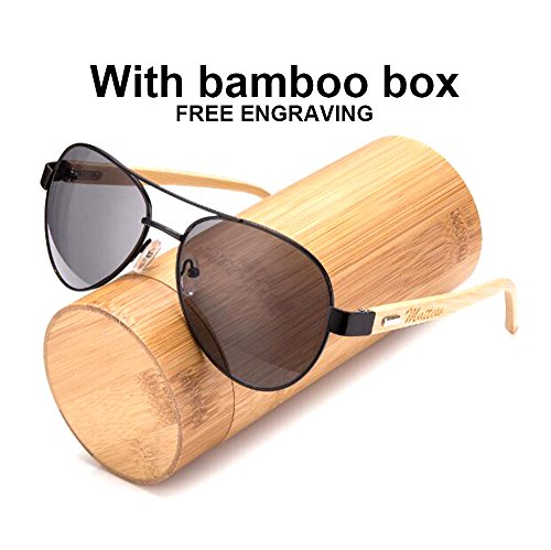 Awerise Personalized Aviator Wood Wooden Sunglasses UV400 Groomsmen Gifts (Sunglasses with bamboo box, - Chart Sunglasses Size Aviator
