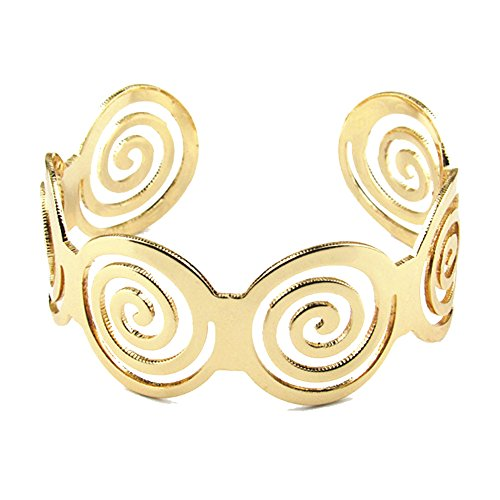 Gold Tone Swirl (CHUYUN Gold Tone Swirl Spiral Cuff Bangle Bracelet Hollow Out Wide Bangle Bracelet (gold))