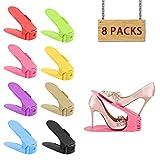 Shoe Slots by HOBFU 3 Levels Height Adjustable Shoes Slot Organizer Storage Rack Holder 1/2 Space Saver for All Size Shoe 8 Pcs/Set