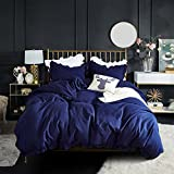 Kids Princess Duvet Cover Set Navy blue Super Soft Solid Color twin Bedding Set Comforter Cover With Exquisite Flouncing (Navy, Twin)