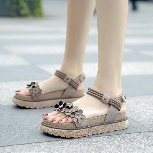 Zapatos 42 de Romanos Colur Sandalias Caqui Khaki Fondo 34 Grueso Mujer Retro de Zapatos Flores Color Size Silvestres Tamaño Plataforma de Camel 43 qBFBPvE