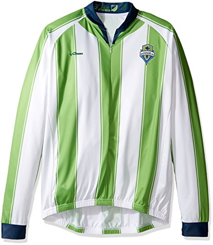 MLS Seattle Sounders FC Men's Original Striped Long Sleeve Cycling Jersey, X-Large, White