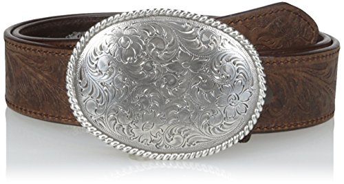 Nocona Belt Co. Men's Brown Basic Floral Buckle, Medium, 46