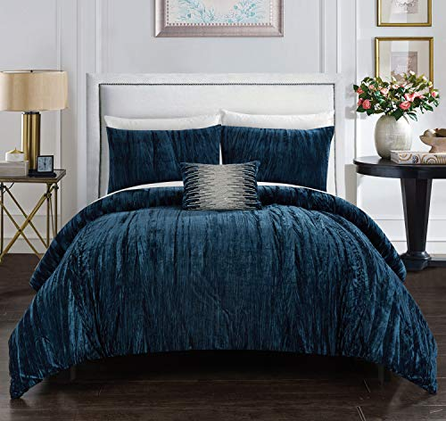 (Chic Home Westmont 4 Piece Comforter Set Crinkle Crushed Velvet Bedding - Decorative Pillow Shams Included Queen Navy )