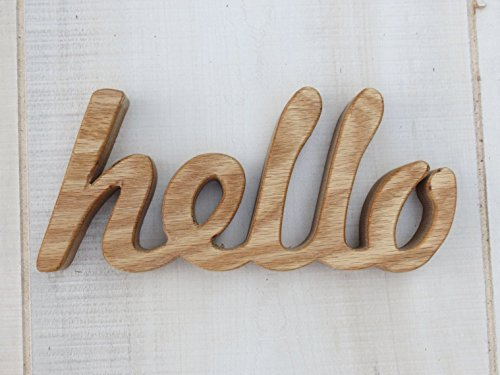 wooden hello sign shelf sitter word art oak wood
