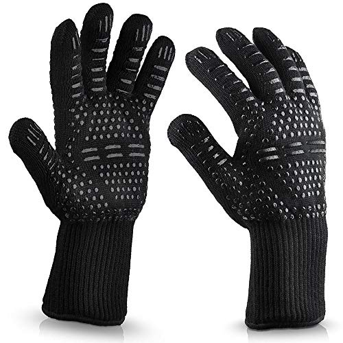 - youeneom Grilling Gloves, Heat Resistant Gloves BBQ Kitchen Silicone Oven Mitts,Barbecue/Grill/Smoker/Fry Turkey/Oven mitt/Baking, Waterproof with Textured Palms (B)