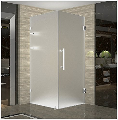 Aston SEN993F-CH-32-10 Aquadica GS Completely Frameless Frosted Glass Square Shower Enclosure with Shelves in Chrome, 32