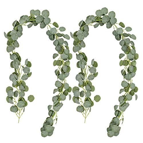 Pauwer Artificial Eucalyptus Leaves Garland 2 Pcs Silk Fake Silver Dollar Eucalyptus Vine Hanging Greenery for Wedding Arch Backdrop Wall Decor (Round Leaves, 2)