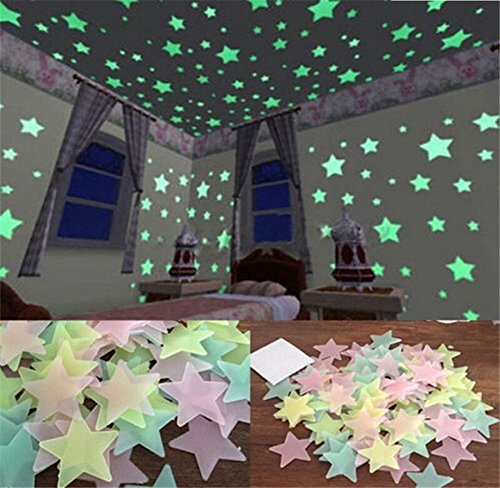 FULLIN Room Sticker Glow In The Dark Star Shape for Ceiling Wall Kid Bedroom Stickers 100Pcs Packing 3 CM Blue Color