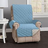 Home Fashion Designs Deluxe Reversible Quilted Furniture Protector and PET Protector. Two Fresh Looks in One. Perfect for Families with Pets and Kids Brand. (Recliner - Marine Blue/Linen)