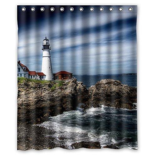 Lighthouses Bath (Baodan Zhang Fashion Custom Beautiful Lighthouse Waterproof Fabric Bath Shower Curtain 66