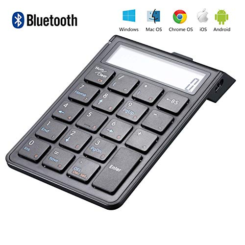 Sunreed Rechargeable Bluetooth Number Pad and Calculator 2-in-1, Wireless Numeric Keypad Keyboard with 12-Digit LCD Display for Laptop Computer Apple, Compatible with Windows OS, Mac OS, with = - Usb Laptop Calculator