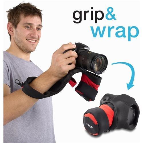 New Wrist Camera Strap For SLR Cameras Red & Black Padded Ca
