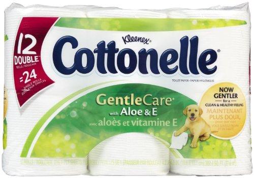 Cottonelle Gentle Care Toilet Paper w/Aloe & E, Double Roll, 12 pk (Paper Double Cottonelle Toilet Roll)