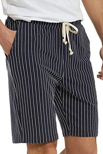 - Men's Casual Athletic Jogging Shorts Drawstring Striped Terry Louging Shorts for Men (L, Denim Blue)
