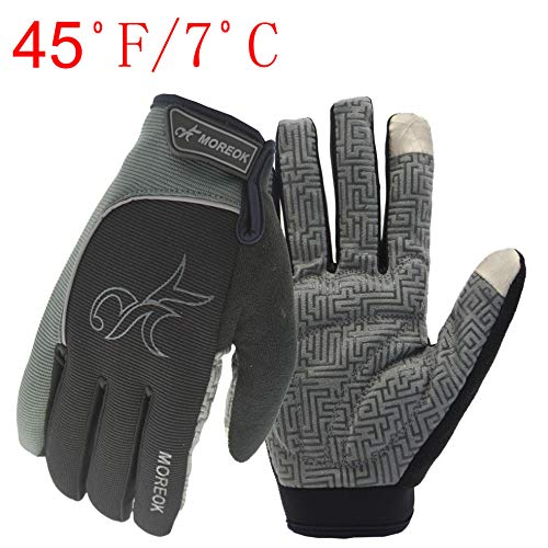 Gloves Riding Digital (MOREOK Long Finger Winter Cycling Gloves Touch Screen Fleece Gloves with Gel Pading Full Finger for Cold Weather for Outdoor Driving Sporting Climbing Hunting Fishing Hiking (Gray, XL))