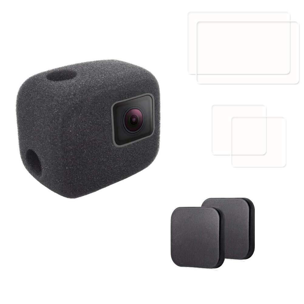 PCTC Camera Windscreen Foam Windshield Windslayer Housing for Gopro Hero 6 5 Black Case Cover + 2 LCD Screen Protector 2 Lens Protector 2 Lens Cap Cover Reduces Wind Noise for Optimal Audio Recording