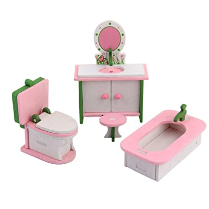 High Quality Lot 4 Pcs Wooden Doll House Bathroom Set Miniature Furniture Kids Play Toy