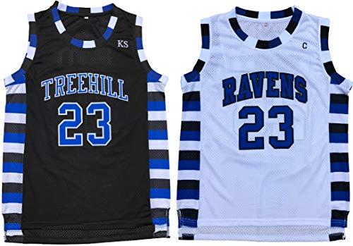 Nathan Scott #23 One Tree Hill Ravens Throwback Basketball Jersey S-XXL (Large, Black)