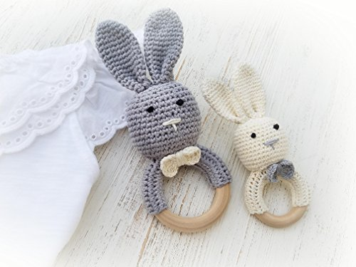 Natural Wooden Baby Toys Cotton Crochet Bunny Teething Ring Teether Rattle SET OF 2 Newborn Unisex baby Shower gift (Grey Mama white baby)