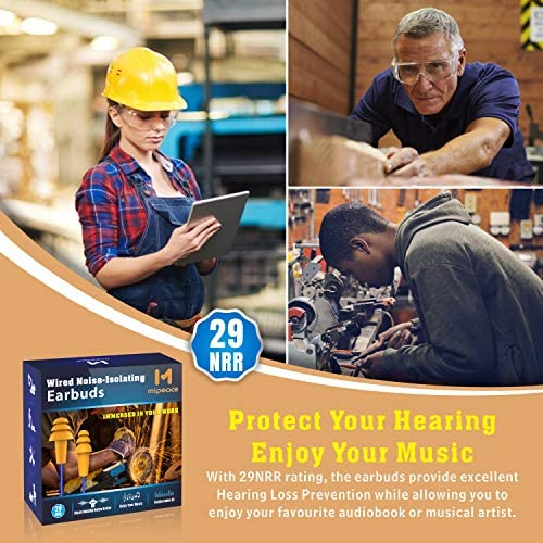 Work Earbuds, Mipeace Safety Hearing Protection Industrial Ear plugs Headphones-OSHA Approved Noise Reduction Earphones for Work Construction Motorcycle 51cI98w578L