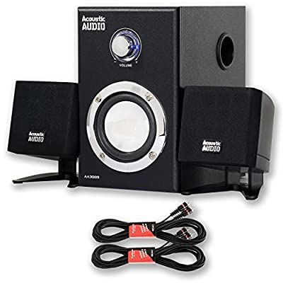 Acoustic Audio AA3009 Powered 2.1 Home Speaker System 200W with Two 25' Extension Cables AA3009-2